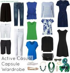 A capsule wardrobe for a retiring yet young at heart active over 60 year old woman. Looks for spring to stay active and casual yet stylish. By Alison Gary.