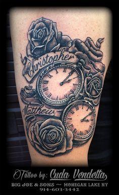 TATTOOS BY CUDA VENDETTA  2 Pocket Watches and roses!  BIG JOE & SON'S TATTOO -  MOHEGAN LAKE NY 914-603-3442