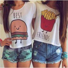 1PC Casual Crop Tops Women 2015 Summer Round Neck Best Friends Print T Shirts Fashion Short Sleeve Printed Shirt Female QL820 #Fashion #Women