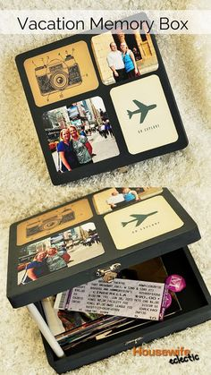 Saturday Share - 10 Ideas for Using Project Life Cards - My Sister's Suitcase - Packed with Creativity Vacation Memory Box: A place to hold all of your vacation mementos. Could make it a shadow box or to set on bookcase or . Memories Box, Vacation Memories, Travel Memories, Project Life Karten, Project Life Cards, Box Photo, Travel Crafts, Travel Scrapbook, Scrapbook Box