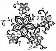embroidery lace flowers template stencil from 123rfcom
