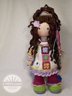 Yuna is a modern Hippie girl. She is a girl with a free mind who doesn´t accept the establishment. Yuna usually do not watch tv, nor do she conform to social standards of beauty, but she loves her colorful mood dress. Please note: This listing is for a CROCHET PATTERN to make the pictured doll and NOT FOR A FINISHED ITEM This pattern is availabe in ENGLISH, FRENCH, DUTCH, SPANISH and GERMAN language. This listing is for an extensive PDF file which contains full instructions for crocheting…