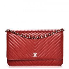 CHANEL Caviar Chevron Quilted Wallet On Chain WOC Red 220145