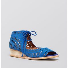 Jeffrey Campbell Rodillo Low Blue Wedge
