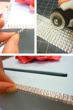 Adding Sheet Rhinestone Embellishments to the DIY Wedding Card Box