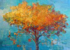 "Elizabeth Washburn   Fire Tree #2""   encaustic and oil on panel, 24""x33"" /sm"