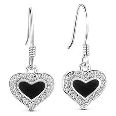 Charming 925 Sterling Silver Earring, Hook Earring, Black Enamel Heart with Micro Pave AAA Cubic Zirconia, Platinum, 25mm