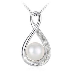 a8c190bef64b Anniversary Birthday Gifts for Her Women Sterling Silver Pearl Pendant  Necklace  PendantNecklace  NecklacePendant Collares