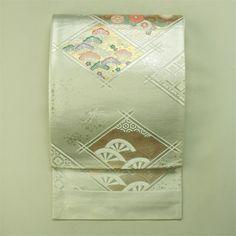 Silver, rokutsu, fukuro obi / 正装用に 銀地 菱取り花柄と二輪車柄 六通袋帯
