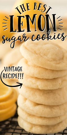Easy Cookie Recipes, Cookie Desserts, Just Desserts, Baking Recipes, Cookie Flavors, Kitchen Recipes, Lemon Sugar Cookies, Sugar Cookies Recipe, Yummy Cookies