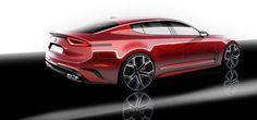 Car Design Photos, Sketches, Renderings and Videos Car Design Sketch, Car Sketch, Mexico 2018, Kia Stinger, Automotive Design, Auto Design, Art Bag, Car Drawings, Transportation Design