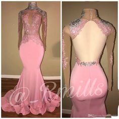 Sexy Pink 2018 Prom Dresses High Collar Lace Backless African Black Girls Formal Evening Gowns Illusion Bodice Mermaid Girls Pageant Dress Prom Dresses Evening Dresses Formal Evening Dress Online with $149.72/Piece on Kissbridal001's Store | DHgate.com