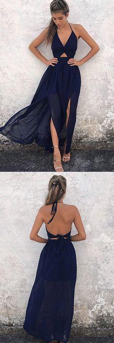 A-Line Halter Floor-Length Backless Navy Blue Chiffon Prom Dress