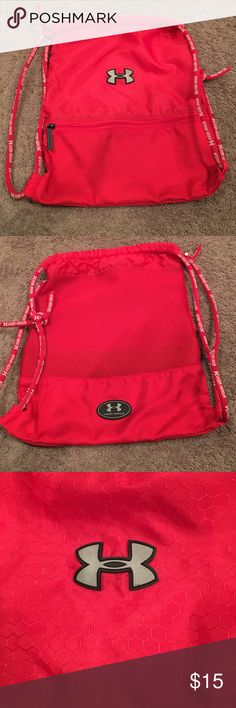 Under Armour bag Under Armour Red draw string bag. Great condition. Zipper in front - no stains. Under Armour Bags Backpacks