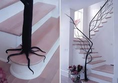 Beautiful metal tree serves as a handrail. (Designed by Architetture del Ferro) @ http://www.boredpanda.com/creative-staircases/