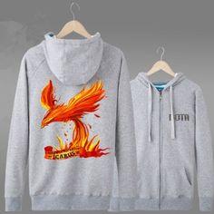 Dota 2 herói Phoenix fecha acima hoodies para homens manga longa