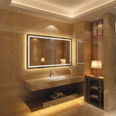 If you find one room in the home that deserves a little extra detail, it is the master bathroom. Use our board to have inspiration on how to style your powder room, ensuite or toilet. Backlit Mirror, Lighted Vanity Mirror, Led Mirror, Mirror Bathroom, Bathroom Ideas, Bath Ideas, Bathroom Stuff, Basement Bathroom, Washroom