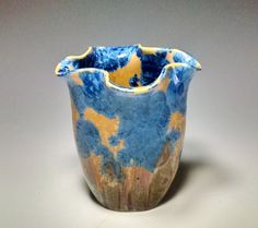 Crystalline Glaze Vase Royal Blue Amber by CrystalCoveCeramics