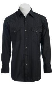 Ely & Walker L/S Tone-On-Tone Solid Black Shirt 20193489 | Cavender's