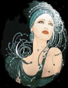Gorgeous flapper lady - Lilly is Love Vintage Art, Vintage Photos, Vintage Ladies, Art Deco Cards, Art Deco Paintings, Afrique Art, 1920s Art, Art Deco Design, Christmas Art