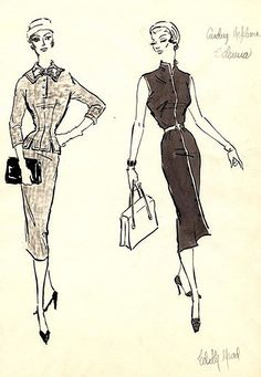 Edith Head sketch for Audrey Hepburn in Sabrina (1954)