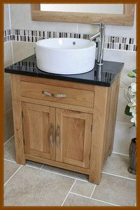 Bathroom Oak Vanity Cabinet Single Cloakroom Unit Sink Bowl Basin Black  Marble