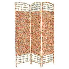 Three-panel room divider hand-woven with recycled Asian magazine pages.Product: Room dividerConstruction Material: Kiln dried wood and recycled Asian magazinesColor: MultiFeatures: Hand-wovenLightweightEco-friendlyDimensions: 67 H x 47.25 W x 0.75 D (overall)
