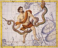 Ophiuchus- Greek myth: a constellation depicting man fighting a snake. in some accounts, it is the priest of Poseidon, Laocoon, who tried to warn his fellow Trojans about the Trojan horse. he was later killed by two sea serpents sent by the gods.