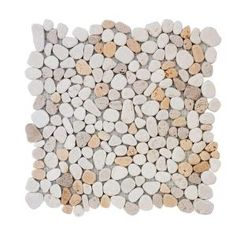 Jeffrey Court Creama River Rock Mosaic 12 in. x 12 in. x 10 mm Marble Mosaic Wall Tile 99052 at The Home Depot - Mobile Mosaic Rocks, Mosaic Wall Tiles, Pebble Mosaic, Stone Mosaic, Rock Mosaic, Honed Marble, Marble Wall, Limestone Flooring, Marble Stones