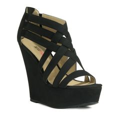 Cute woven strappy wedges.