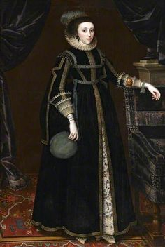 """Portrait of a Lady (probably Mary Hungate), attributed to Marcus Gheeraerts the Younger, ca 1620 England, Royal Albert Memorial Museum This description is from here. """" This painting and an earlier portrait were given by a descendant of the Browne."""