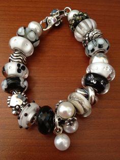 beautiful black, white, and silver Trollbead bracelet