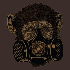 Gas Mask Chimp Tee: Higher-primate.com