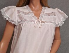 VINTAGE BARBIZON COTTON LAWN PINK EMBROIDERED OPEN BUST LACE TRIM NIGHTGOWN LINGERIE #SomeLikeItUsed