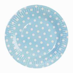 assiettes pastel à pois pour une tendre décoration de table de baptême, anniversaire ou baby shower