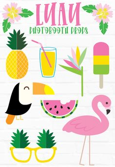 Activity Days Camp Ideas and inspiration by Lindi Haws of Love The Day. Theme (Be A Pineapple), schedules and favor ideas. Hawaiian Photo Booth, Luau Photo Booths, Photo Booth Props, Flamingo Photo, Photobooth Props Printable, Party Props, Party Ideas, Tropical Party, Activity Days
