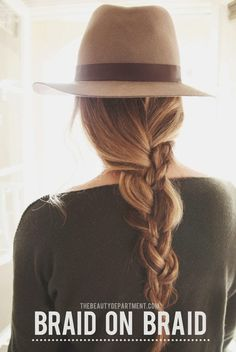 My hair will one day be long enough for this braid! (messy braids with hats! see how to do this braid within a braid in this post. My Hairstyle, Pretty Hairstyles, Braided Hairstyles, Hairstyles With Hats, Woman Hairstyles, Fashion Hairstyles, Hairstyle Tutorials, Braided Updo, Wedding Hairstyles