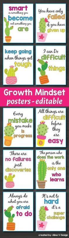 Printable growth mindset posters for kids featuring a colorful cactus decorations. Your kindergarten or primary classroom will look amazing and you can teach your students will easily learn growth mindset affirmations and quotes using your classroom display. If you don't want to post these on your classroom walls you can print them two on a page and use them as cards for teaching positive reinforcement and encourage positive behavior.