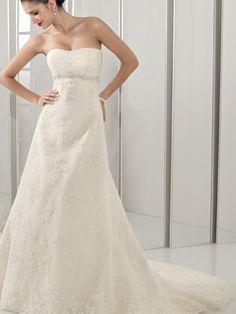 2012 Empire Waist A-line Design Applique Beads Working Floor length Strapless Wedding Dress