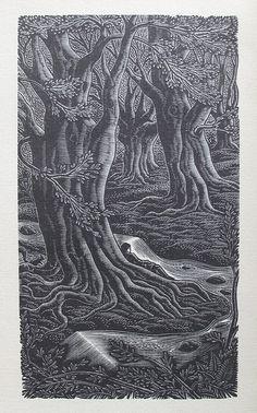 Gwenda Morgan - wood engraving for Gray's Elegy Written in a Country Churchyard, Golden Cockerel Press, 1946