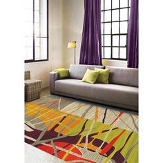 Tangerine Collection Texture Multicolored Rug