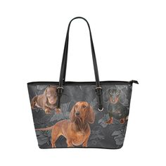 56e3ab59ce Dachshund Lover Leather Tote Bag Small - TeeAmazing Small Bags