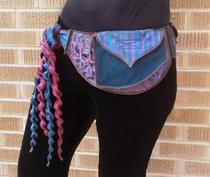 Magenta Teal  - Pocket Belt - Utility belt - Hip bag - Festival - Bohemian - Burlesque - Renaissance - Burning man - Fanny pack - Money belt
