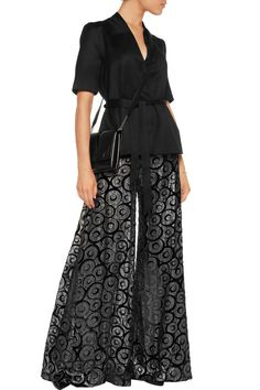 Shop on-sale Opening Ceremony Metallic devoré-chiffon wide-leg pants. Browse other discount designer Pants & more on The Most Fashionable Fashion Outlet, THE OUTNET.COM