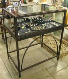 Custom Made Iron Jewelry Display Case Showcase for Artifacts with Lock and Keys