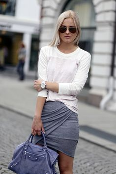 Basics: white tee, grey wrap skirt, Balenciaga City bag #StreetStyle