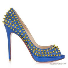Rivets Peep Toes Nude Shoes Red Sole High Heel Sky Blue