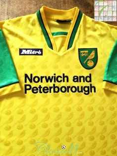 Official Mitre Norwich City home football shirt from the season. Football Uniforms, Football Jerseys, Norwich City Football, How To Memorize Things, Polo Ralph Lauren, Soccer, Yeezy, Mens Tops, T Shirt