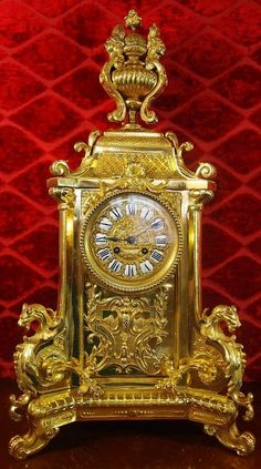 ANTIQUE CLOCK FRENCH 19TH C GILT SOLID BRASS FIGURAL 8 DAY MANTLE CLOCK HUGE