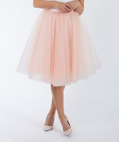 Dusty Blush Soft Midi Tulle Skirt